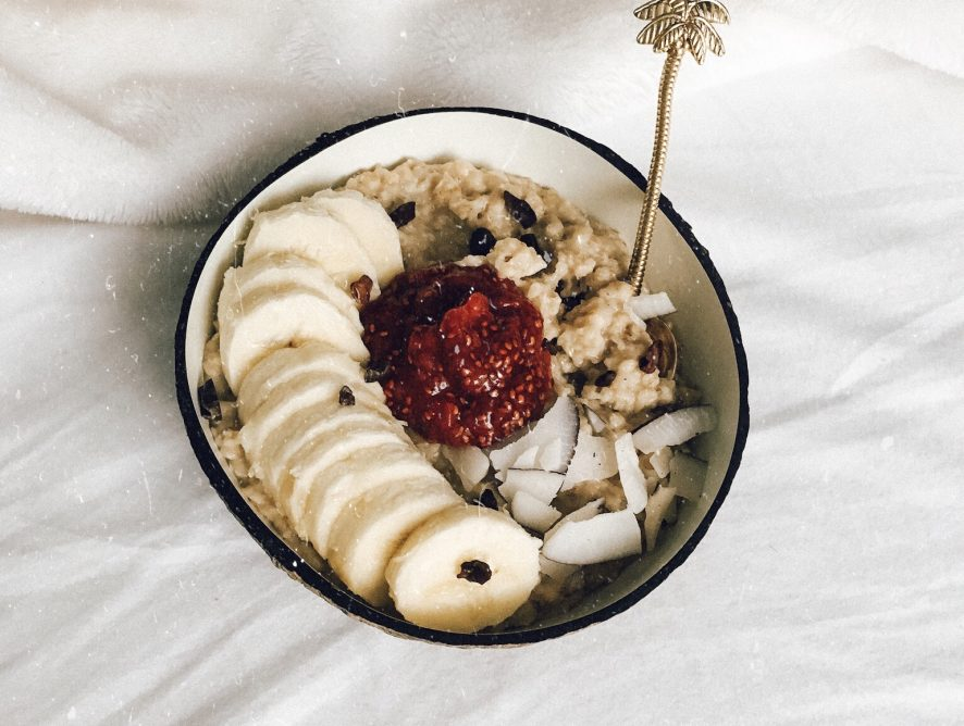 Creamy Coconut Oatmeal with Guilt-free Strawberry Vanilla Jam