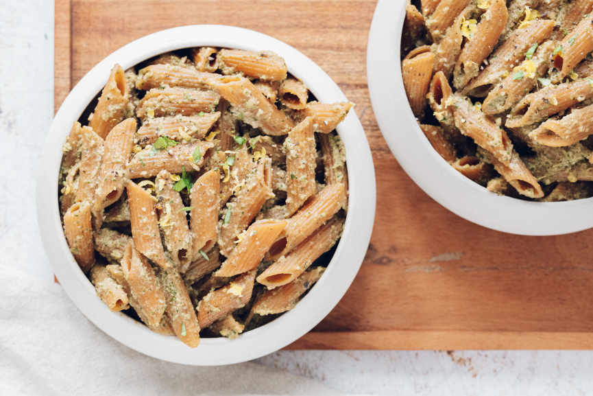 Red Lentil Pasta with Easy Home Made Pesto